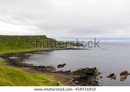 Panorama of the Giant's Causeway and Causeway Coast, the result of an ancient volcanic eruption UNESCO World Heritage Site
