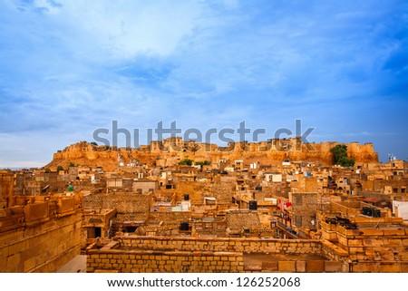 Panorama of the Golden Fort of Jaisalmer, India - stock photo