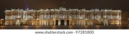 panorama of the hermitage st. petersburg - stock photo