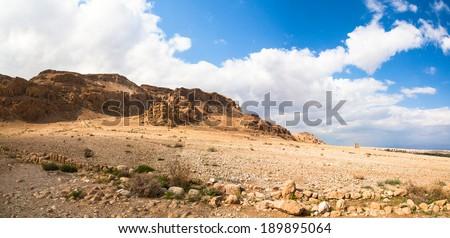 Panorama of the hills at qumran - Israel - stock photo