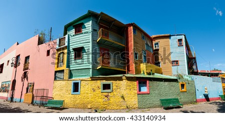Panorama of the historic colorful neighborhood La Boca, Buenos Aires Argentine - stock photo