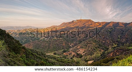 Panorama of the Hollywood Hills and Sign - Los Angeles California