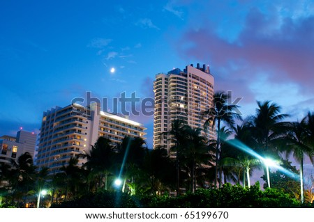 Panorama of the hotel near sea side - stock photo