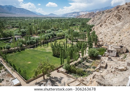 panorama of the Indus river Valley as seen from Shey gompa - Ladakh, Jammu and Kashmir - India - stock photo