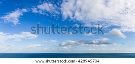Panorama of the Irish Sea and horizon on a sunny day with a blue sky and white clouds
