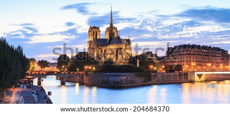 Panorama of the island Cite with cathedral Notre Dame de Paris in Paris, France. - stock photo