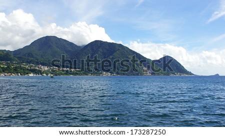 Panorama of the island Dominica, Caribbean Sea - stock photo
