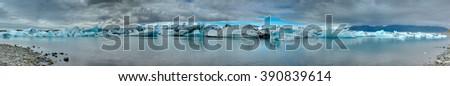Panorama of the Jokulsarlon glaciar lagoon in Iceland - stock photo