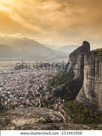 Panorama of the Meteora valley in Greece  - stock photo