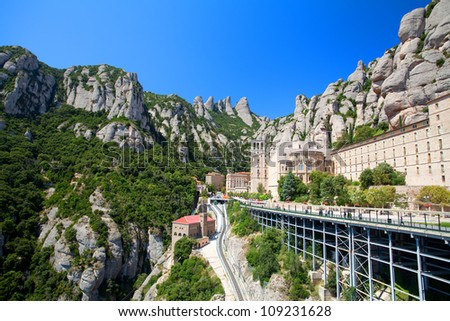 Panorama of the Monastery de Montserrat (Spain) - stock photo