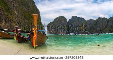 Panorama of the most beauitul beach, Maya Bay, in Phi Phi islands, Thailand. - stock photo