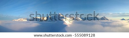 Panorama of the mountains. Winter landscape. Tatry. Poland