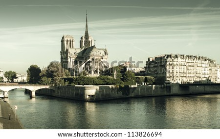 Panorama of the Notre Dame cathedral in the morning, vintage feel - stock photo