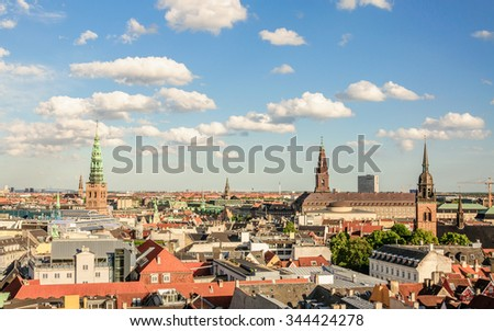 Panorama of the old part of the city from the observation deck at the Round tower (Rundetaarn) in Copenhagen, Denmark - stock photo