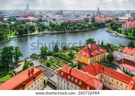 Panorama of the old town in Wroclaw, Poland - stock photo