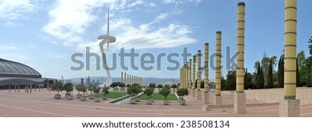 Panorama of the Olympic site of barcelona close to the stadium with the Montju�¯c Communications Tower - stock photo