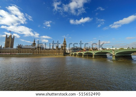 Panorama of The Palace of Westminster and Big Ben at sunny day, London, England, UK
