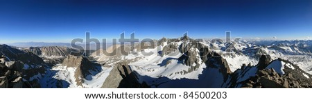 panorama of the Palisade range in the Sierra Nevada Mountains from Agassiz Peak - stock photo
