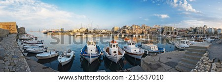 panorama of the port in Heraklion, Crete, Greece - stock photo