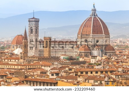 Panorama of the river and famous basilica in Florence - stock photo
