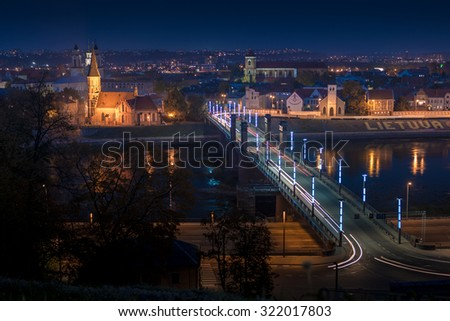 Panorama of the river and town of Kaunas. Lithuania