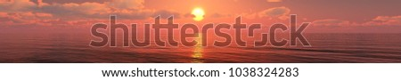 panorama of the sea sunset, sunrise over the ocean 3D rendering