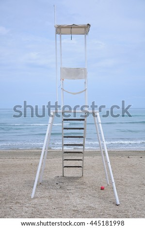 panorama of the sinigallia beach with the presence of the lifeguard house - stock photo
