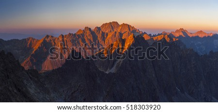 Panorama of the Slovak High Tatra mountains with autumn