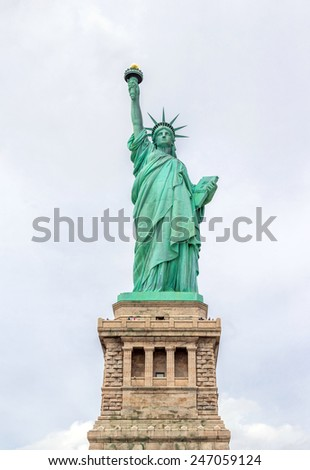 Panorama of The Statue of Liberty in New York City USA - stock photo