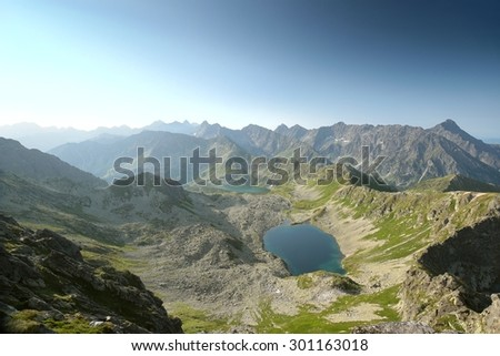 Panorama of the Tatra Mountains on a summer morning. - stock photo