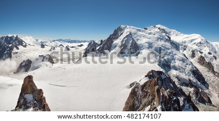 Panorama of the the Mont Blanc, the Alps, France