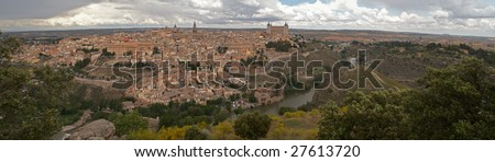 Panorama of the Toledo, including the most relevant historic buildings - stock photo