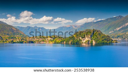 Panorama of the typical italian village in the mountains. Italian village Bellagio in Lecco Lake. Lombardy, Italy. - stock photo