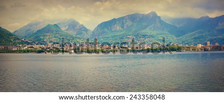 Panorama of the typical italian village in the mountains. Italian village in Lecco Lake. Lecco, Lombardy, Alps, Italy. Retro style. - stock photo
