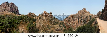 Panorama of the unesco world heritage landscape Calanches de Piana - Corsica - stock photo