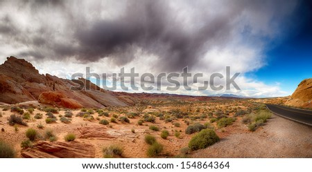 Panorama of the Valley of Fire with dramatic sky. Nevada,  - stock photo