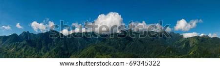 Panorama of the valley of Sapa, Vietnam - stock photo