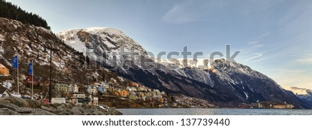 Panorama of the waterfront, house by the fjord. Odda, Norway - stock photo