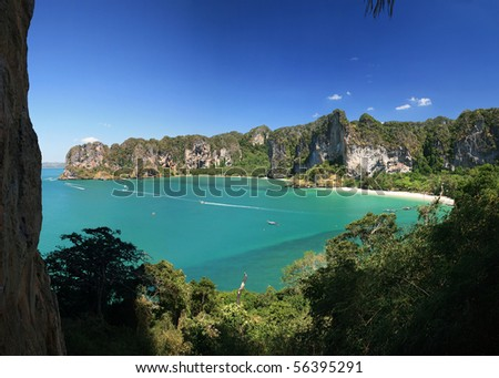 Panorama of the west side of the Railey Peninsula from Thaiwand Wall, Krabi, Thailand