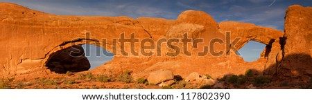 Panorama of the Windows Section at sunset, Arches National Park, Utah