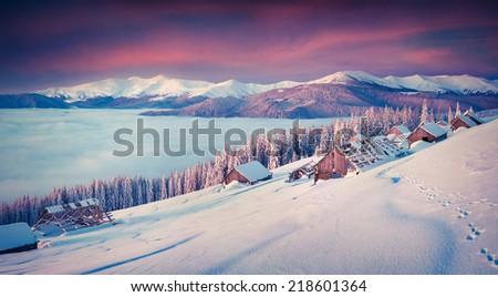 Panorama of the winter morning in the mountains. Mountain valley Pozharska, Carpathian, Ukraine, Europe. - stock photo