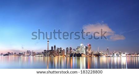 Panorama of Toronto, Canada at sunset - stock photo