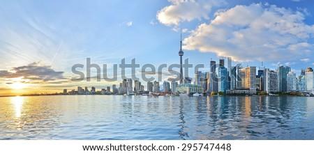 Panorama of Toronto skyline at sunset in Ontario, Canada. - stock photo