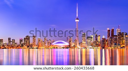 Panorama of Toronto skyline in Ontario, Canada. - stock photo