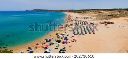 Panorama of Torre dei Corsari beach along Green coast, west Sardinia, Italy - stock photo