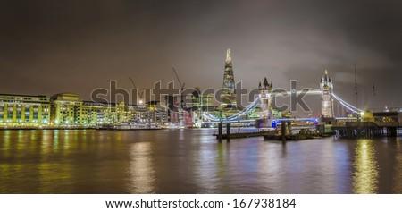 Panorama of Tower Bridge and Shard skyscraper, London skyline, United Kingdom - stock photo