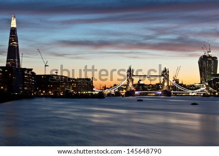 Panorama of Tower bridge and the city of London