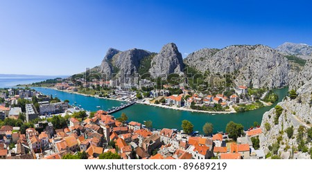 Panorama of town Omis in Croatia - travel background - stock photo