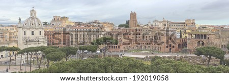 Panorama of Trajan's Market in Rome, Italy