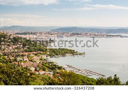 Panorama of Trieste over Adriatic Sea, Italy, Europe - stock photo